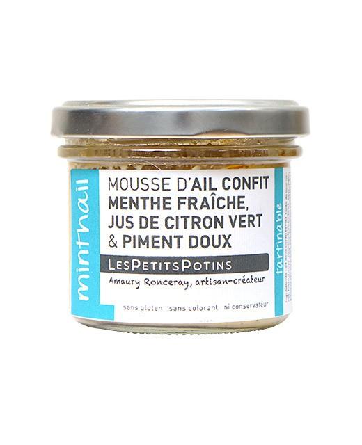 Mousse aus Knoblauchconfit mit frischer Minze und Peperoni - Les Petits Potins