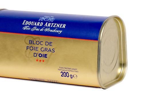 Foie gras d'oie in Blockform 200g /Gänseleberpastete in Blockform 200g - Edouard Artzner