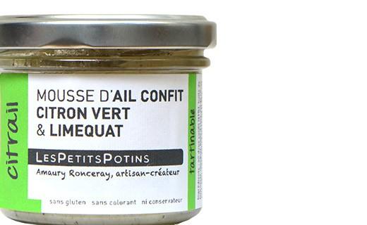 Mousse aus Knoblauchconfit mit grünen Zitronen und Limequats - Les Petits Potins